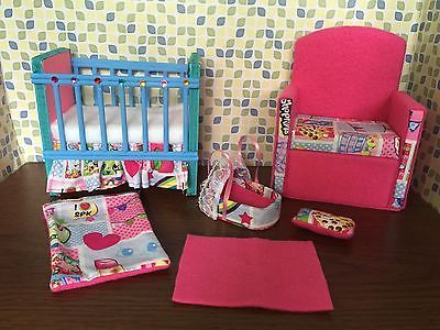 Barbie baby Nursery Set Furniture ,crib ,sofa ,carrier. Shopkins