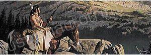 American Indian on Mountain Rear Window Graphic