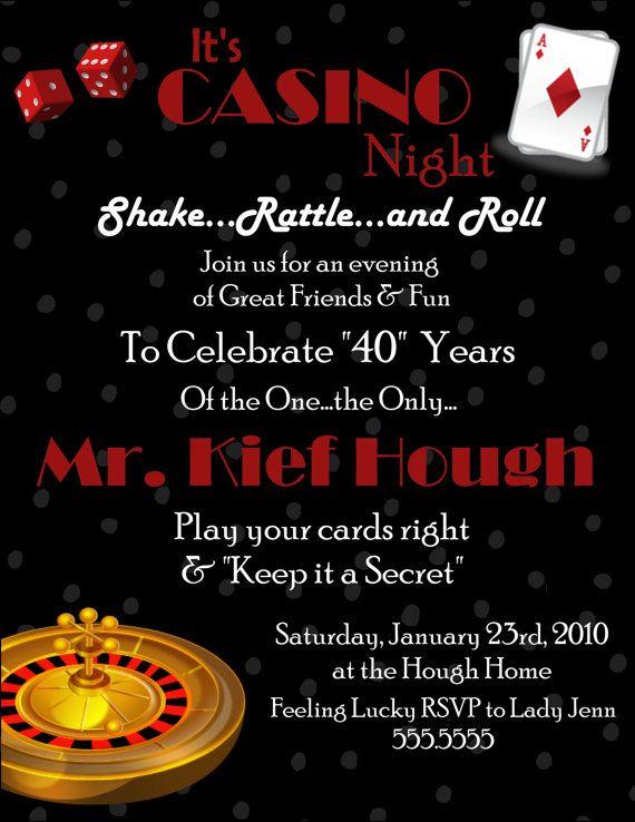Casino Digital Birthday Invitation Casino Party Birthdays And - Party invitation template: casino theme party invitations template