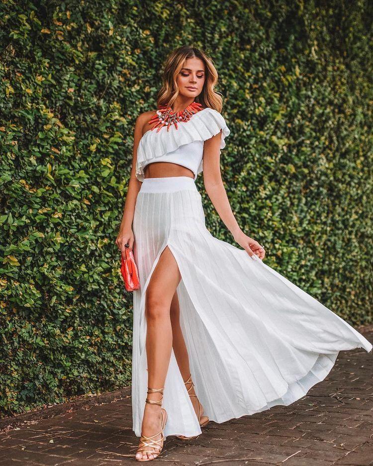 37 Outfits Con Faldas Largas En Tendencia Para Cualquier Ocasión Faldas Largas Conjunto Blusa Y Falda Outfit Falda Larga