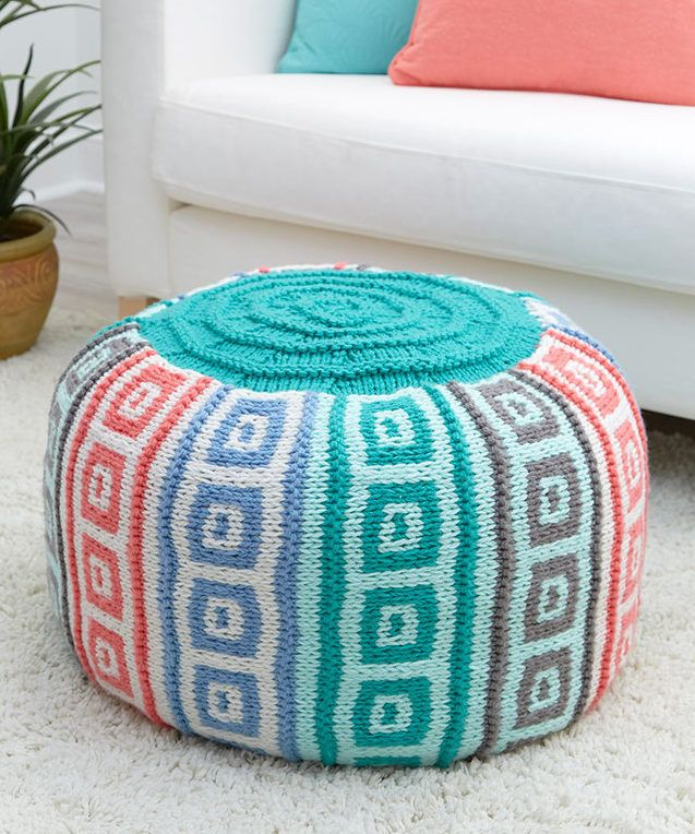 Free Knitting Pattern for Mosaic Squares Pouf - This floor pillow or ...
