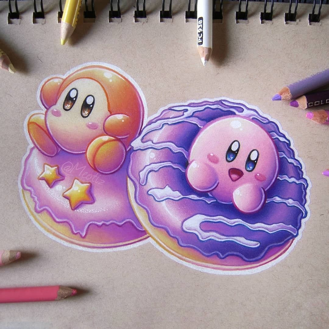 Kirby Colored Pencil Drawings By Meotiz Drawings Pencil Kirby In 2020 Pencil Drawings Color Pencil Drawing Colored Pencils