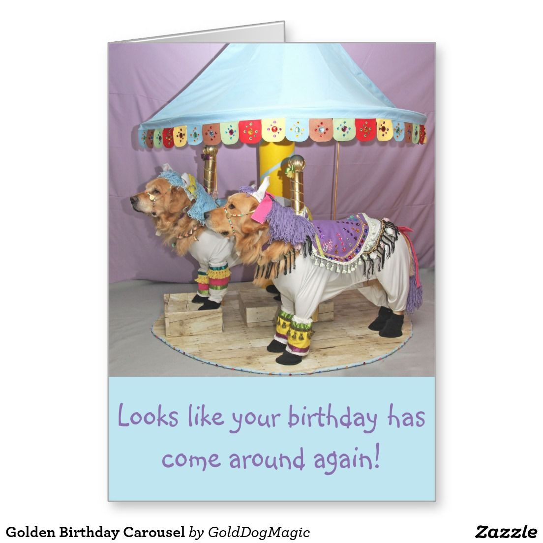 Golden Birthday Carousel Greeting Card Zazzle Greeting Cards By