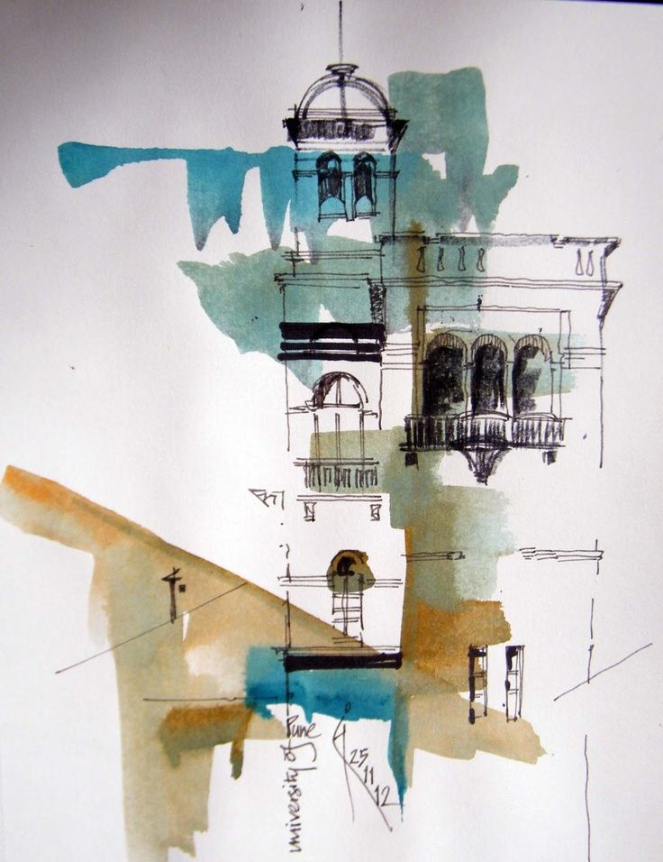 Sanjeev Joshi Architecture Drawing Watercolor Architecture