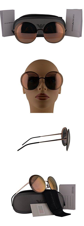 8f007c7936c Emporio Armani EA2044 Sunglasses Pink Gold Brown w Grigio Specchio Green  Lens 31674Z EA 2044