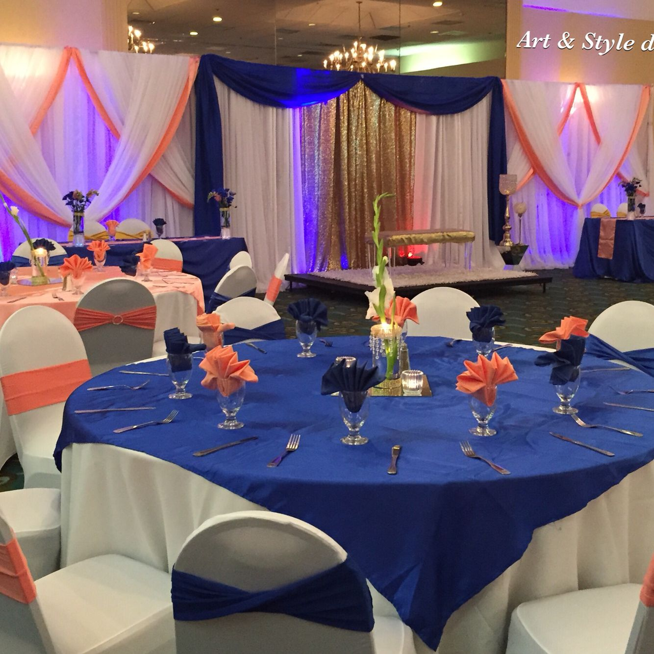 Wedding decorations with royal blue  Beautiful Wedding decor Royal Blue and Coral artandstyledecor