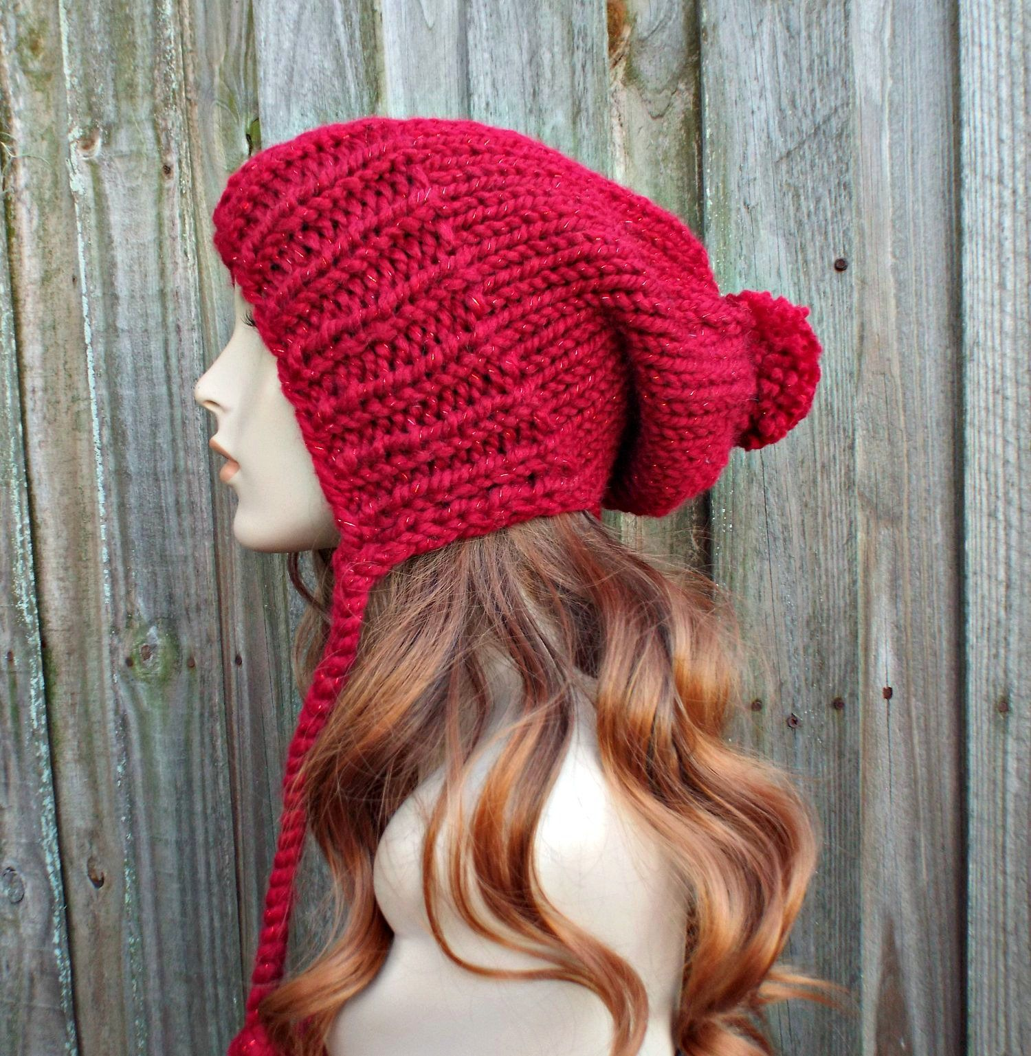 60c99371a74 Metallic Poinsettia Red Slouchy Hat Red Womens Hat - Charlotte Slouchy Ear  Flap Hat - Red