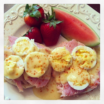 """""""Easter Eggs"""" Benedict made on Easter morning with Hard boiled Easter eggs. Fast and Good!"""