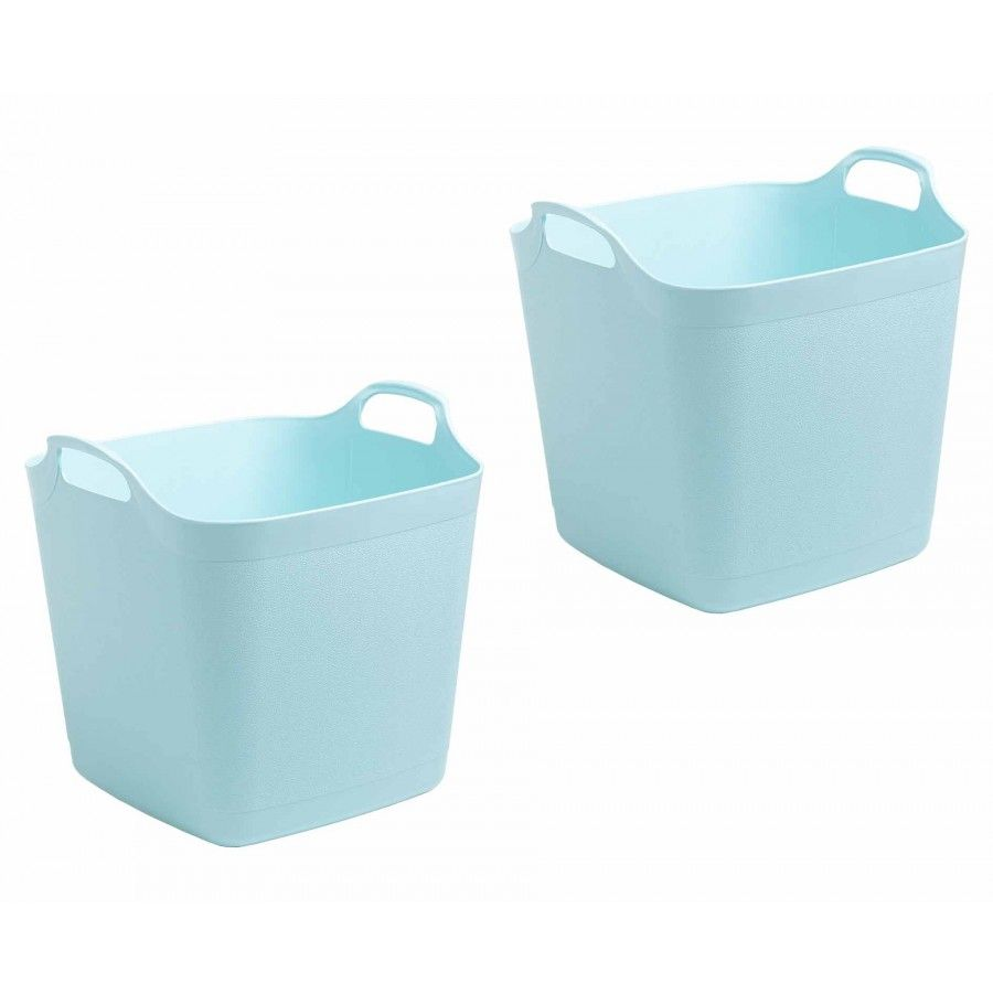 Wham Flexi Store 25 Litre Pack Of 2 Blue Plastic Box Storage