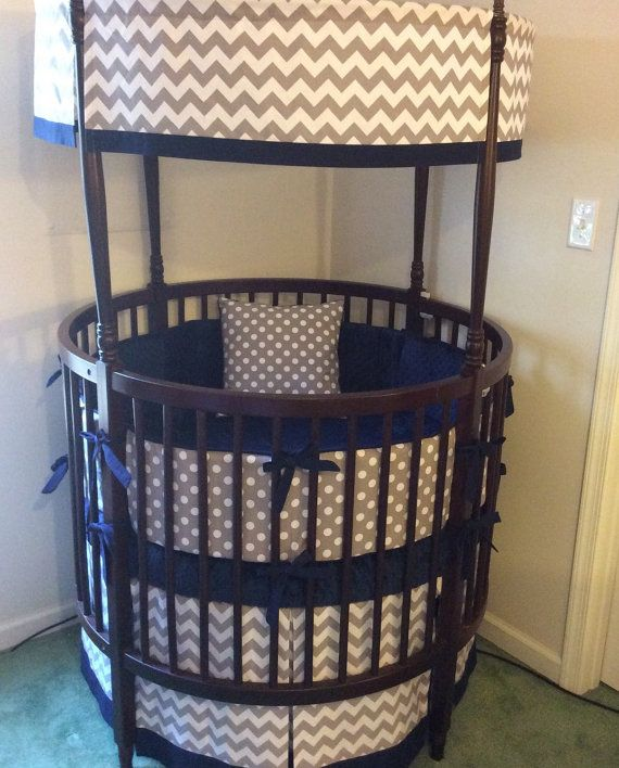 DEPOSIT Round Crib Bedding Navy and Gray Made To Order | Gris, Camas ...