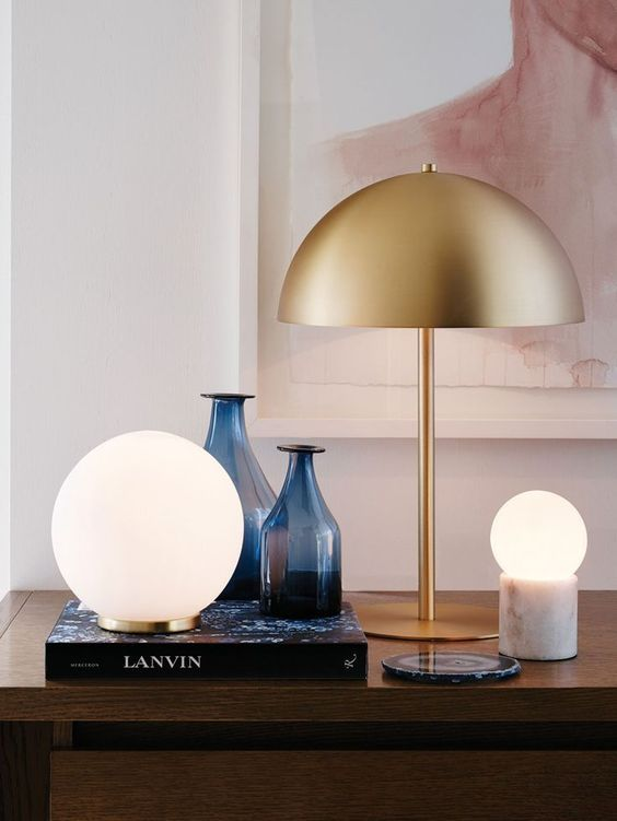 Mondo Large Round Table Lamp In White Brass Room Lamp Brass