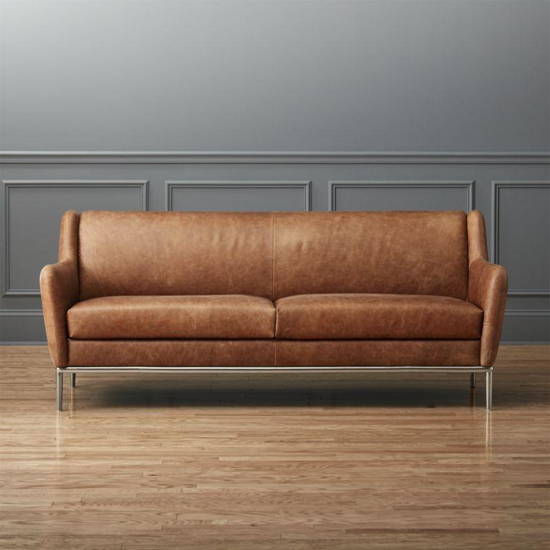 Remarkable Alfred Cognac Leather Sofa Home Shop The Look Cognac Creativecarmelina Interior Chair Design Creativecarmelinacom