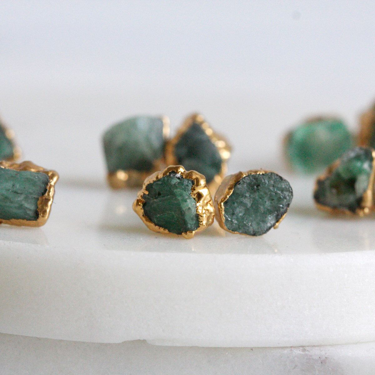 Emerald Earrings Studs Raw Rough Natural Gold