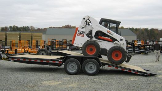 Kaufman Fixed Front Tilt Equipment Trailer Hauls A Bobcat Skid Steer Equipment Trailers Landscape Trailers Work Truck