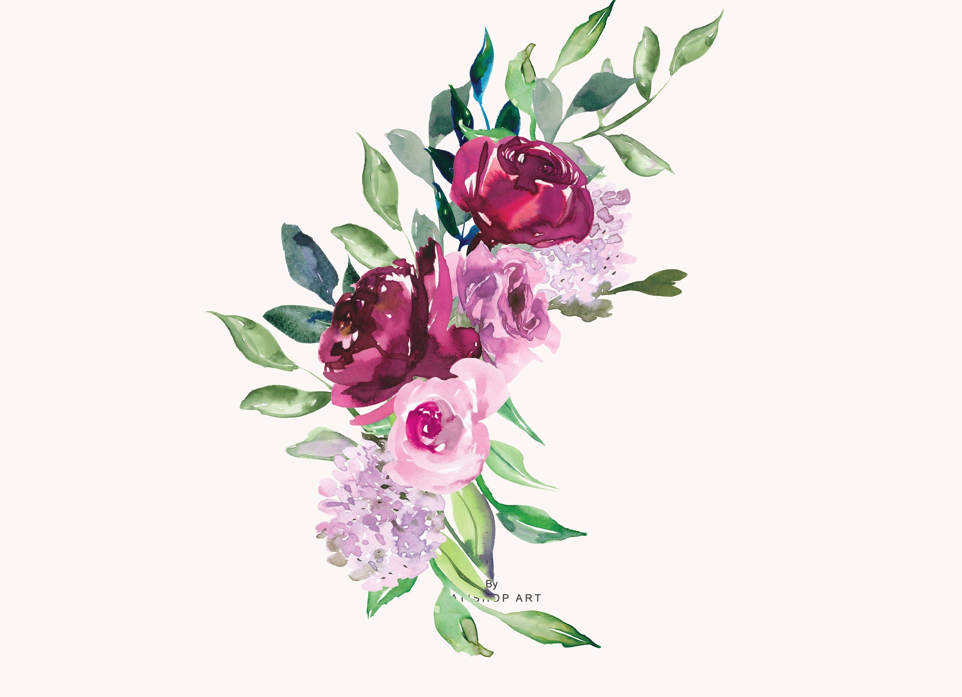 Watercolor Marsala And Pink Flowers Filestotalpng