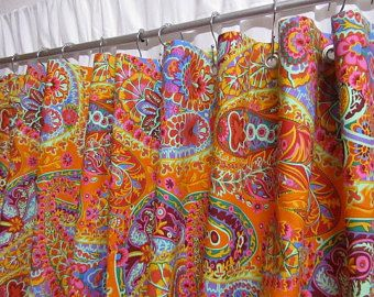 Boho Shower Curtain Paisley Tangerine Orange Bohemian Home Decor Bright Multi Colored