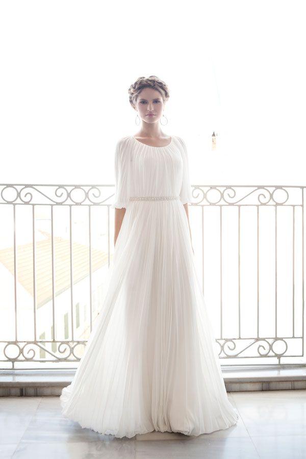 Modest Grecian Inspired Wedding Dress  Modest Wedding