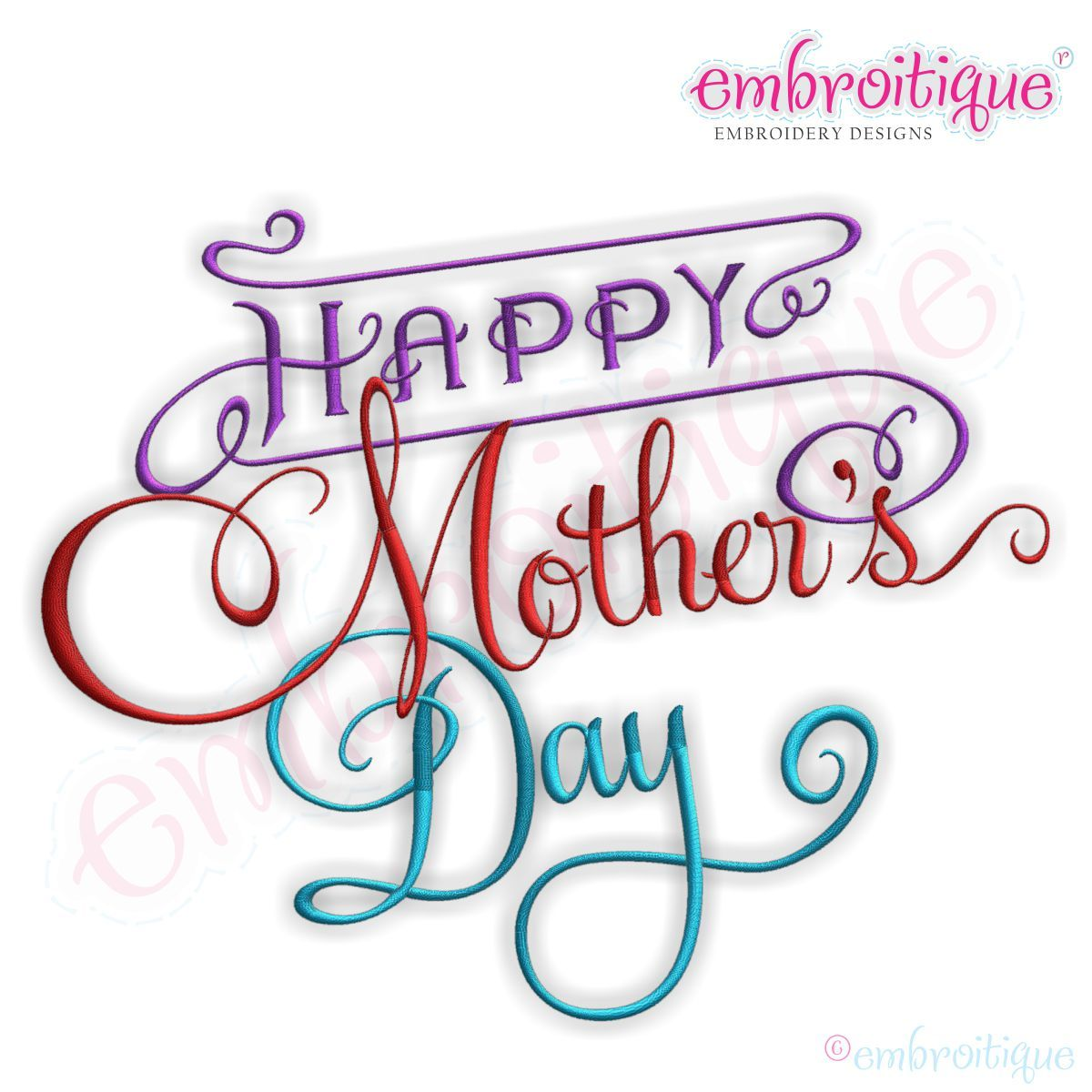 Embroitique Happy Mother S Day Embroidery Design Happy Mother S Day Calligraphy Happy Mothers Day Embroidery Designs