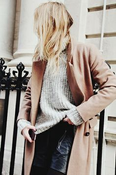 We're loving this gray sweater, camel coat combo. #shopstyle