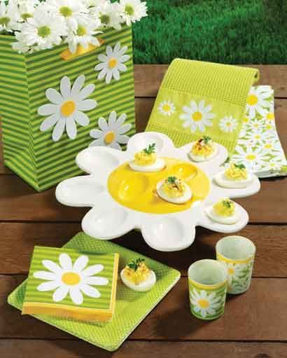 The Daisy Crazy collection includes paper plates and napkins a ceramic egg platter candle holders mugs . & daisy table ware | Daisy Crazy spring partyware from Design Design ...