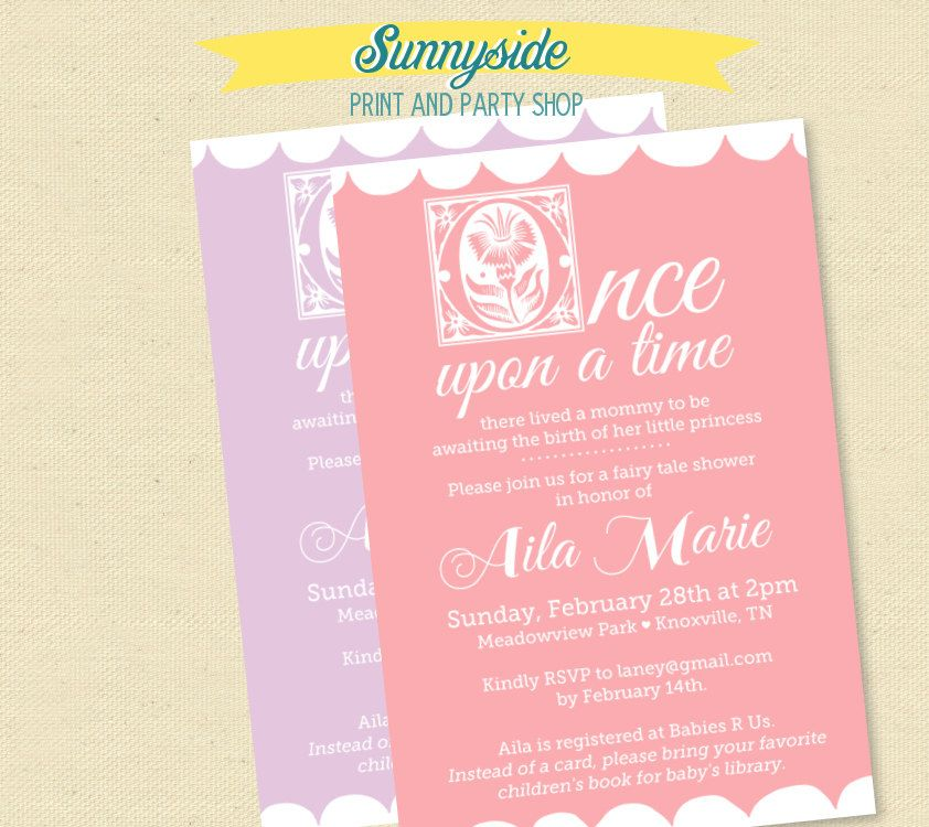 Once Upon a Time Fairy Tale Baby Shower Invitation with Bookplate ...