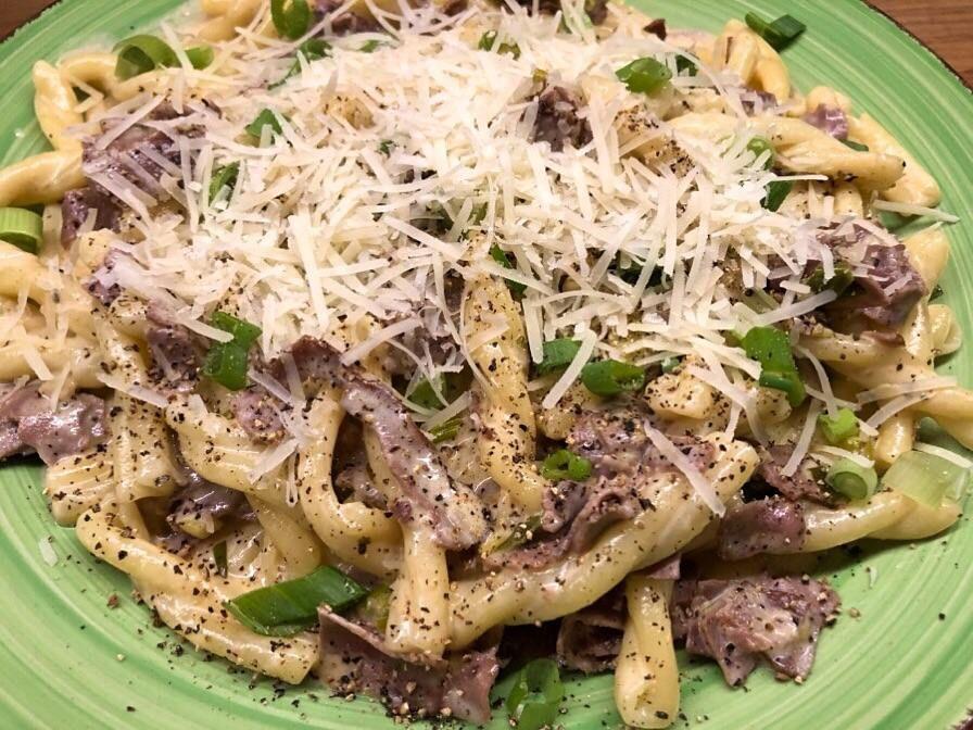pasta med rostbiff