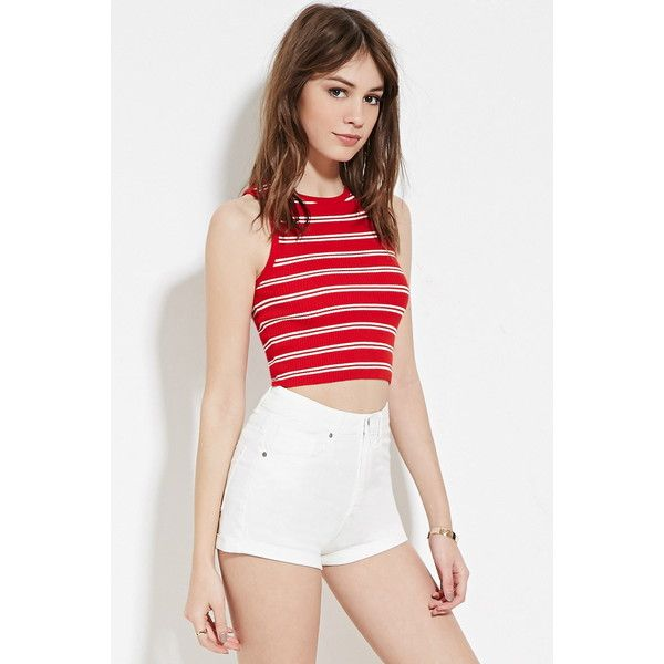 7b3a1c430f598e Forever 21 Women's Cropped Stripe Sweater ($15) ❤ liked on Polyvore  featuring tops, sweaters, striped sweater, striped crop top, forever 21  sweaters, ...