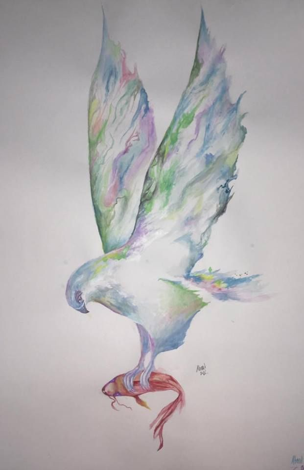 رسم طير يحمل سمكة عبد الرحمن عبد المنعم Art Drawings Art Drawings