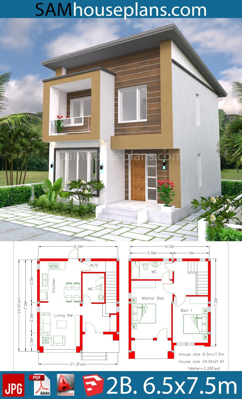 House Plan 6 5x7 5m With 2 Bedrooms A2 Sam House Plans House Construction Plan 2 Storey House Design Small House Design Plans