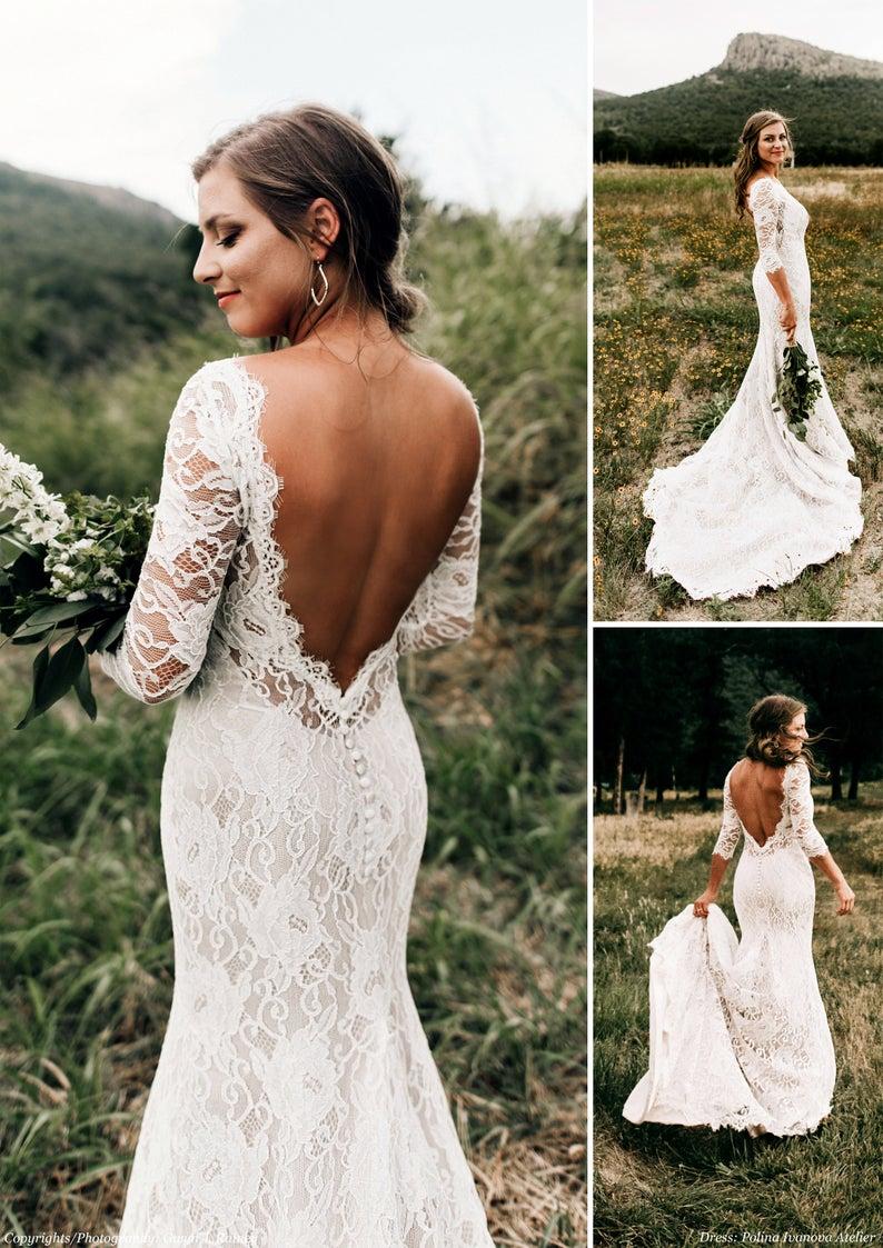 Lace Wedding Dress Open Back Wedding Dress Low V Back Dress Etsy Lace Wedding Dress Open Wedding Dresses Lace Wedding Dress Low Back