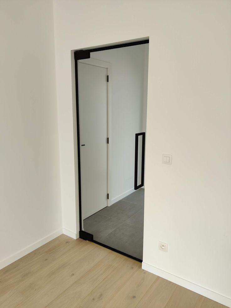 Steel look glass door
