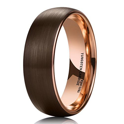 King Will 8mm Dome Mens Brown Tungsten Carbide Wedding Band Ring ...
