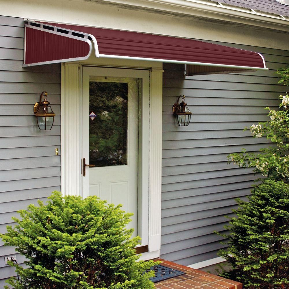 Nuimage Awnings 5 Ft 1500 Series Door Canopy Aluminum Awning 15 In H X 36 In D In Burgundy K150606016 The Home Depot In 2020 Aluminum Awnings Awning Over Door Door Canopy