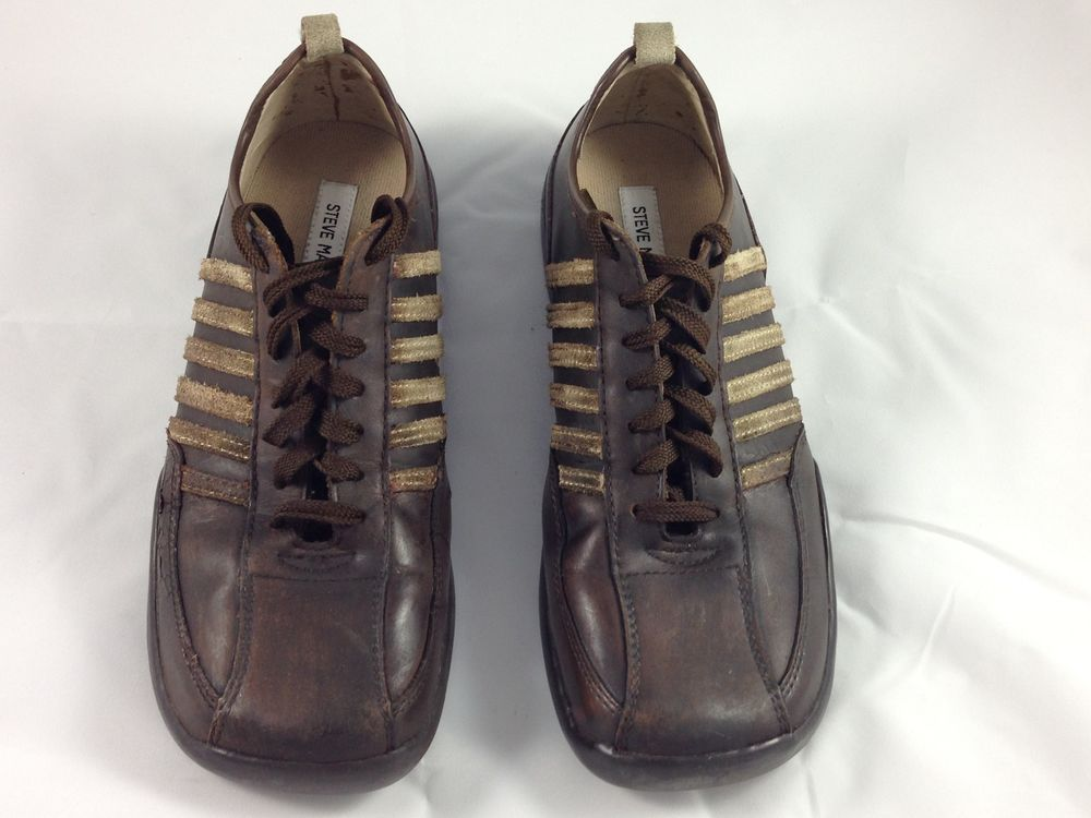 Steve Madden Shoes Shooter Mens Brown Leather Lace Up Casual Sneaker  Bowling 8.5 #SteveMadden #