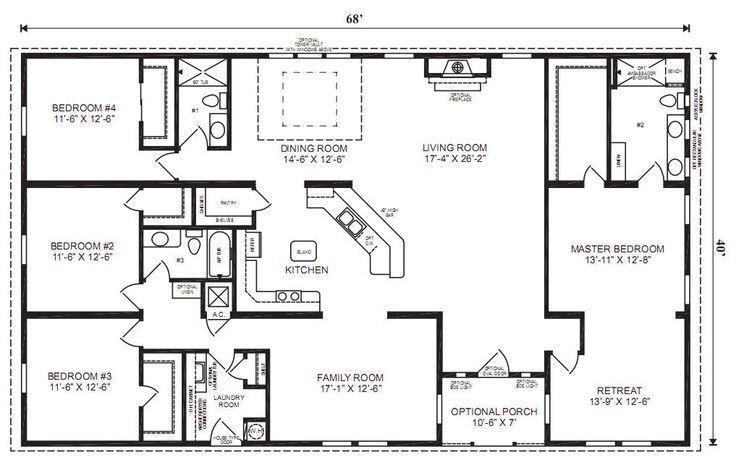 5 Bedroom 4 Bath Rectangle Floor Plan Google Search Modular