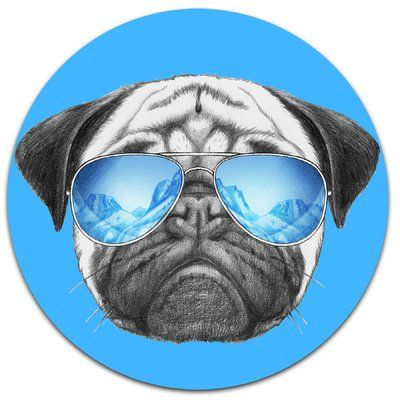 Design Art Pug Dog With Mirror Sunglasses Graphic Art Print On