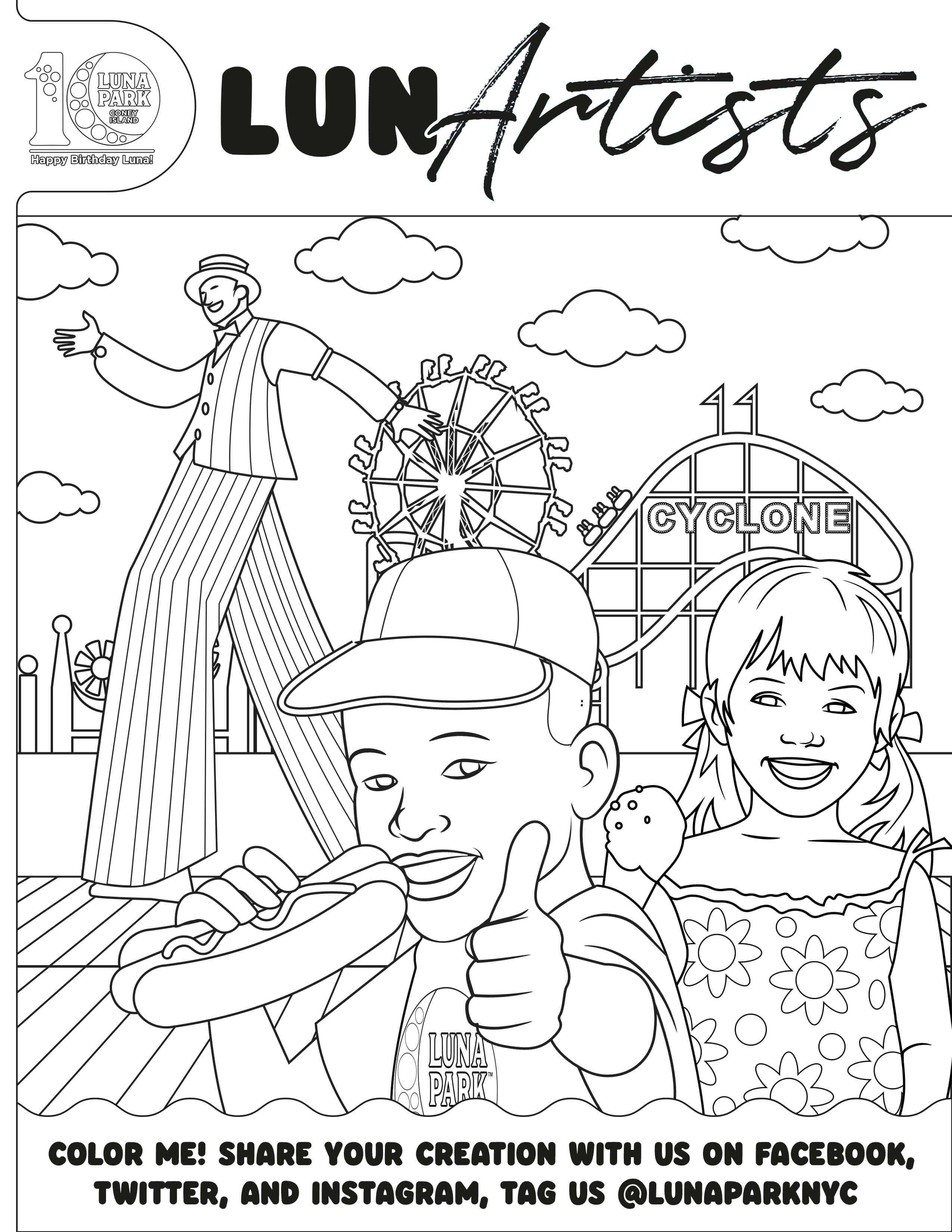 Luna Park Cyclone Coloring Page Coloring Pages Color Me Amusement Park [ 3300 x 2550 Pixel ]