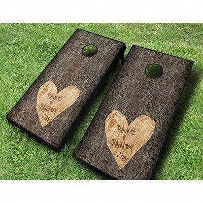 2' x 4' Wedding Tie and Necklace Solid Wood Cornhole Board