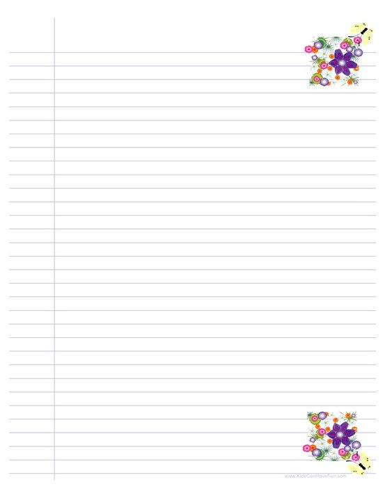Free Printable Ruled Paper  Purple  StationeryBorders For