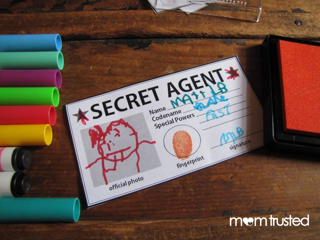 Secret Agent Id Card  Free Printable  Preschool Activities And