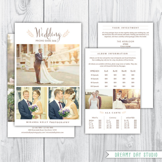 photography pricing template wedding pricing brochure wedding