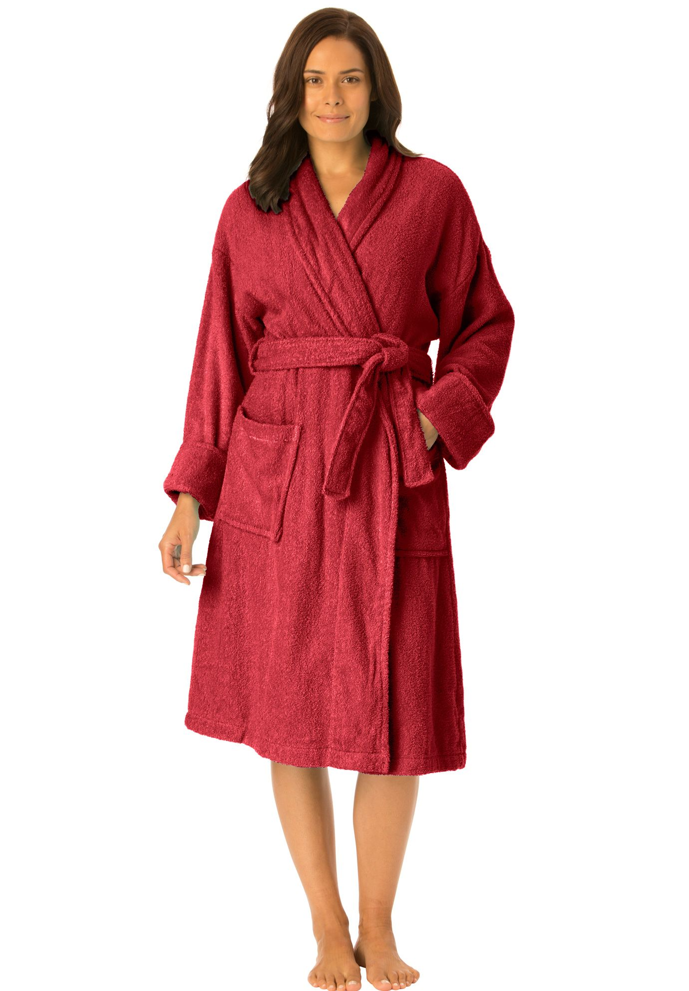 1786334329 Short Red Plus Size Terry Cloth Robe. You will love the soft texture and  pretty