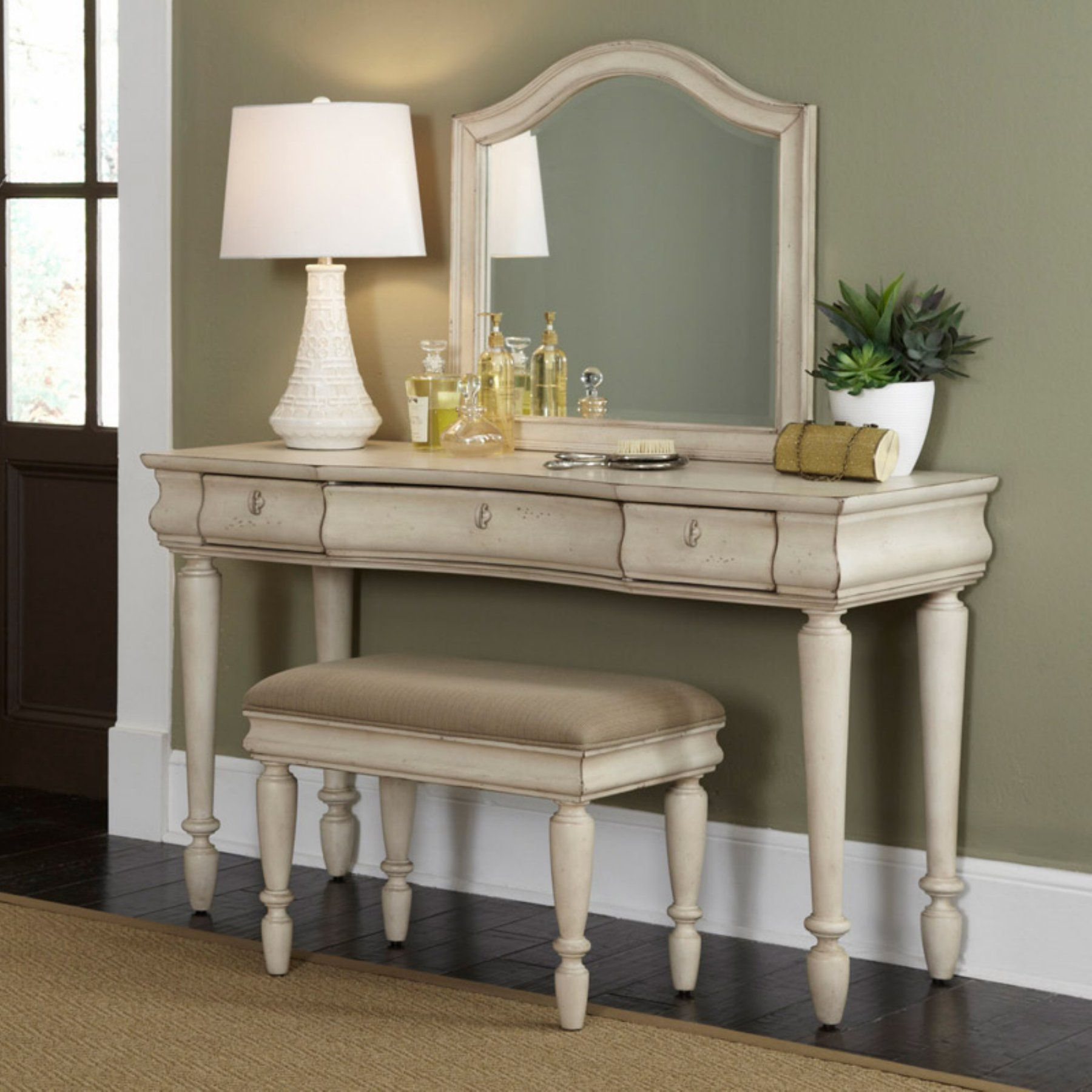 Rustic Traditions Bedroom Vanity Set - Rustic White - LFI1897 ...