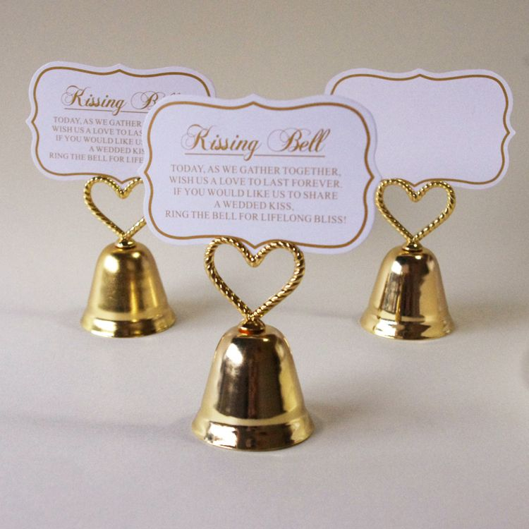 Gold Color Kissing Bell Wedding Place Card Holder 100PCS LOT Free Shipping Table Name Picture