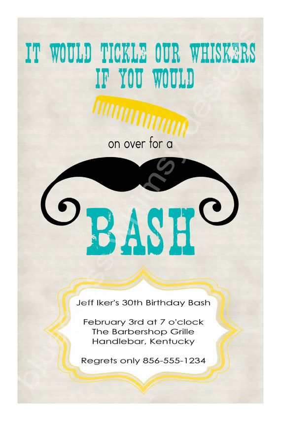 Comb on Over for a Mustache Bash Birthday by BluegrassWhimsy, $15.00 ...
