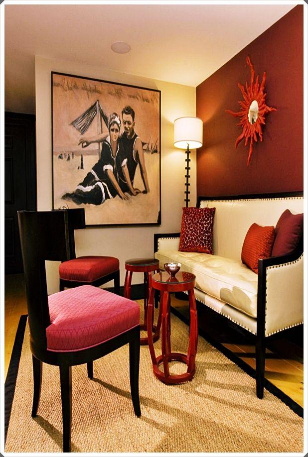 Burgundy Living Room Decor Trends 2020 | Family photos are ...