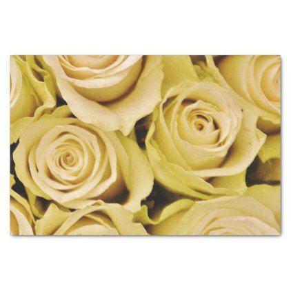 White Roses Flower Pattern Tissue Paper