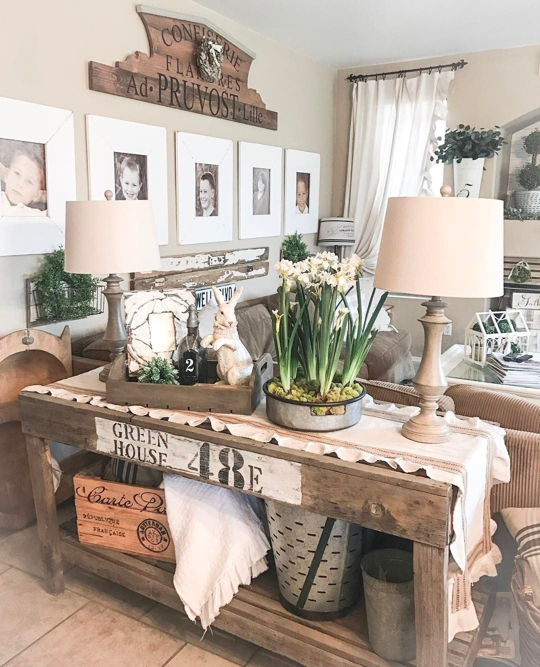 Table behind my couch also give us this day wood sign  or  farmhouse rustic rh pinterest