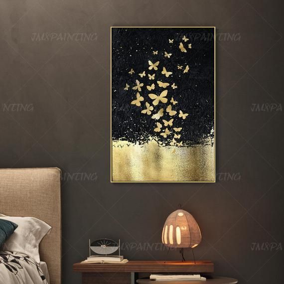 Abstract Butterfly Goldleaf Painting Print On Canvas Ready To Etsy Butterfly Wall Art Diy Painting Frames Butterfly Painting