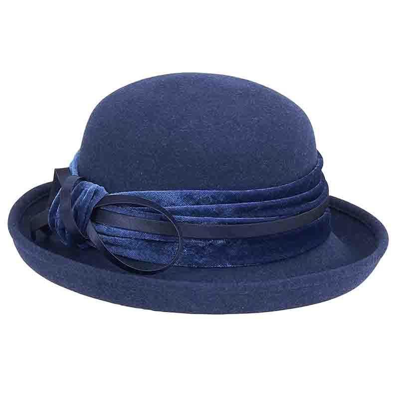 6a64b9ccbf804 Velvet Band Wool Felt Bowler Hat by Adora®-Navy in 2019